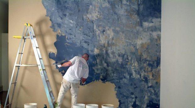 Покраска стен магазина